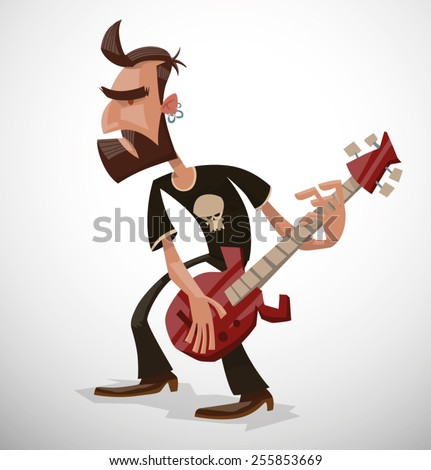 Rock musician, vector - stock vector