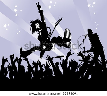 rock musician with a guitar in the jump shows a victory sign; - stock vector