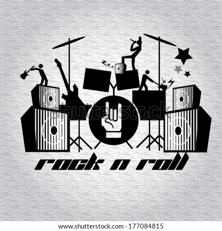 Rock n Roll, Abstract music background  - stock vector