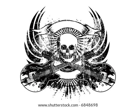 rock n roll emblem - stock vector