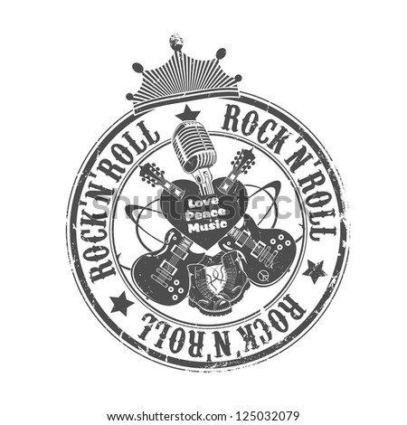 Rock'n'roll stamp. Vector illustration. - stock vector
