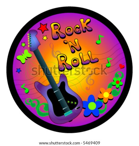 Rock n Roll vector with guitar,flowers and heart.