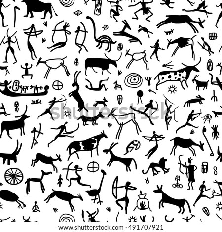Rock Paintings With Ethnic People Seamless Pattern Vector Illustration