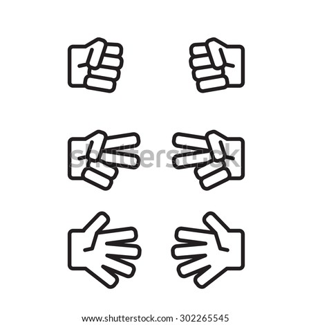 Rock-paper-scissors black and white icon - stock vector