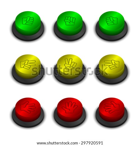 Rock-paper-scissors buttons green yellow and red color on white background with shadow - stock vector