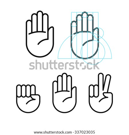 Rock, paper, scissors line icons in modern geometric style. Isolated vector illustration. - stock vector