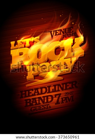 Rock party design with burning headline text and place for band name