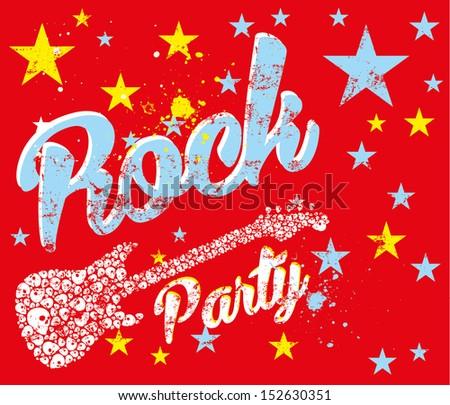 rock party skull vector art - stock vector