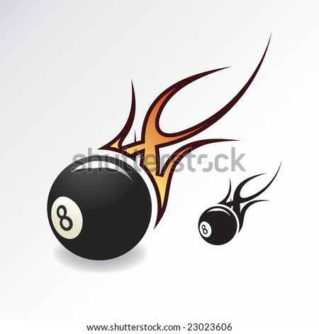 Rock & Roll Eightball with flame - stock vector