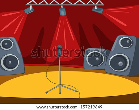 Rock&Roll Stage with Musical and Light Equipment. Vector Cartoon  Background. - stock vector