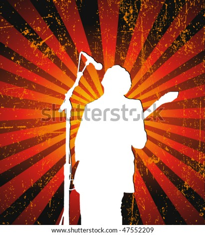 rock singer with a guitar - stock vector