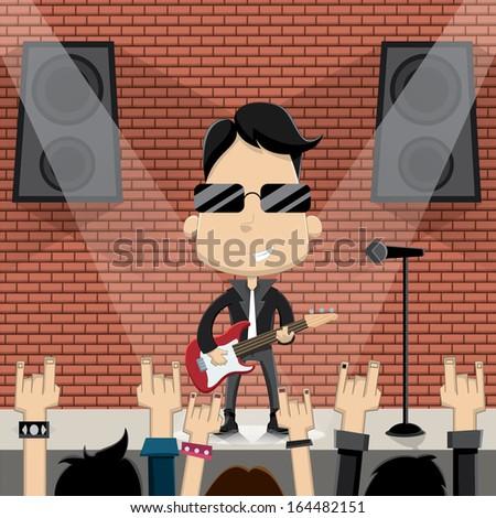 Rock star guy character design. Vector - stock vector