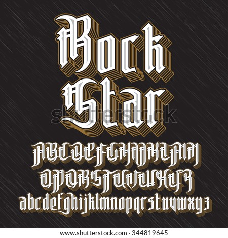 Rock Star Modern Gothic Style Font. Gothic letters with decoration elements. Vector alphabet - stock vector
