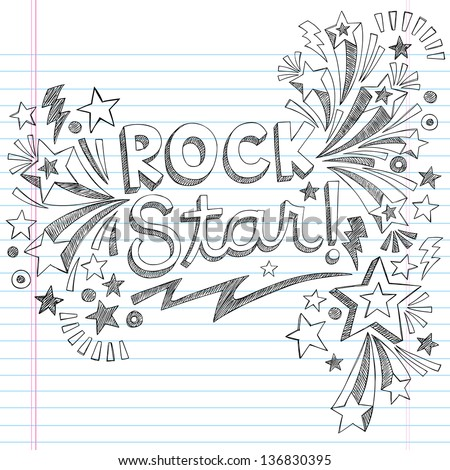Rock Star Music Back to School Sketchy Notebook Doodles with Music Notes and Swirls- Hand-Drawn Illustration Design Elements on Lined Sketchbook Paper Background - stock vector
