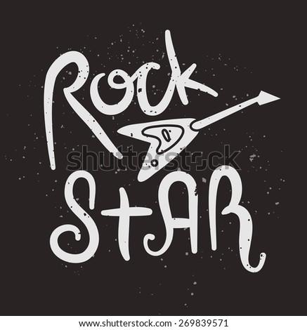 Rock Star Poster. Vector Illustration - stock vector