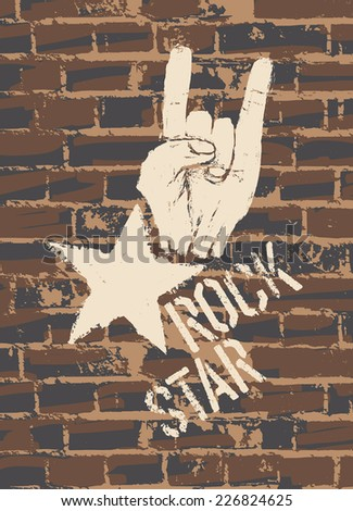 Rock Star Sign With Horns Gesture On Brick Wall - stock vector