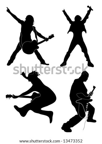 Rock Star silhouettes (singer, guitarists) - stock vector