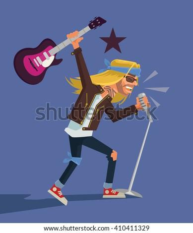Rock star. Vector flat cartoon illustration - stock vector