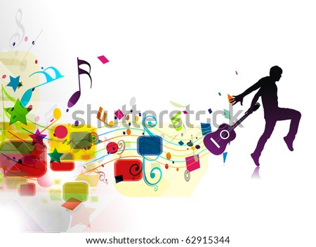 Rock star with a guitar isolated over colorful illustration. - stock vector