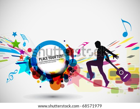 Rock star with a guitar isolated over colorful illustration background. - stock vector