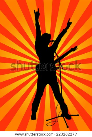Rock star with guitar silhouette - stock vector