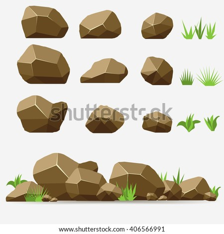 Rock stone with grass. Brown color isometric 3d flat style. Set of different boulders - stock vector