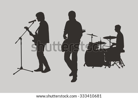 Rock trio outlines - stock vector