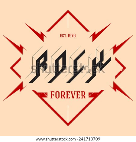 Rock vintage label with lightning. Original letters with grunge effect. Vector illustration. - stock vector