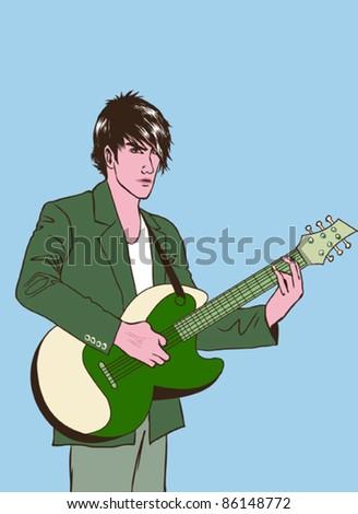 Rocker playing guitar - stock vector