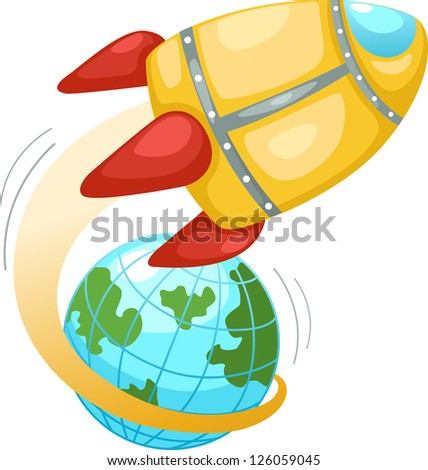 Rocket and earth globe . Vector illustration  on white background