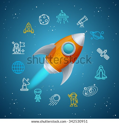 Rocket and Space Icon Concept. Vector illustration - stock vector