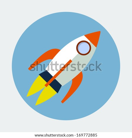 Rocket Flat icon - stock vector