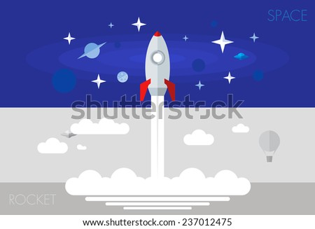 rocket fly takeoff space ship cosmos stars flat element set - stock vector