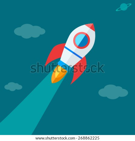 Rocket flying high - Success Icon - stock vector