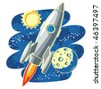 rocket flying through Outer Space - stock vector