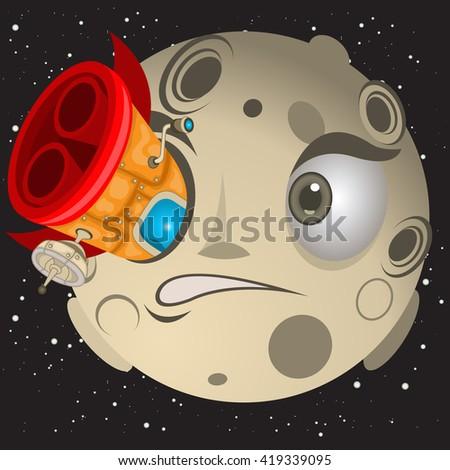 Rocket hit a moon in the eye. - stock vector