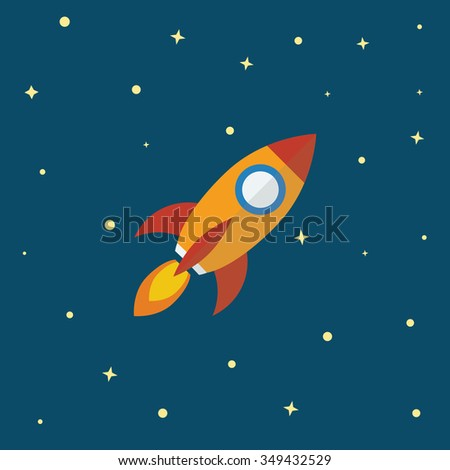 Rocket icon flat design. Startup business company  concept. Project kick off.