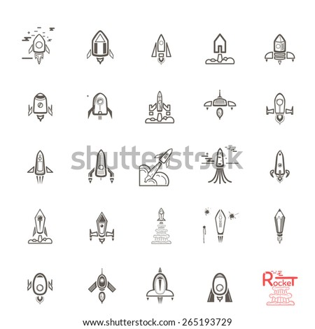 Rocket icons. Set sketches doodles. EPS 10 - stock vector
