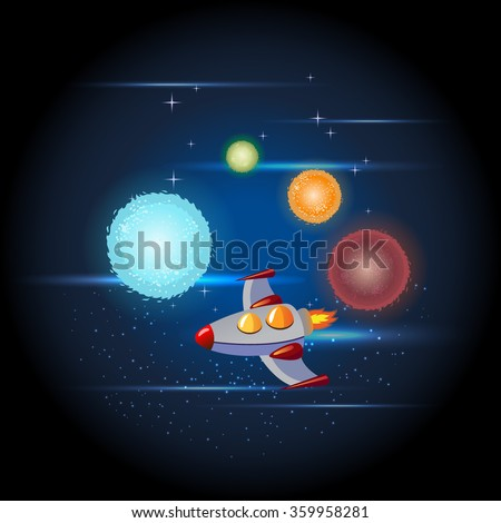 Rocket in space. Cosmic ship and planets icons. Kid's element.Vector space ship with stars and sparkles.Spacecraft travel through the universe  Galaxy shine and stars. - stock vector