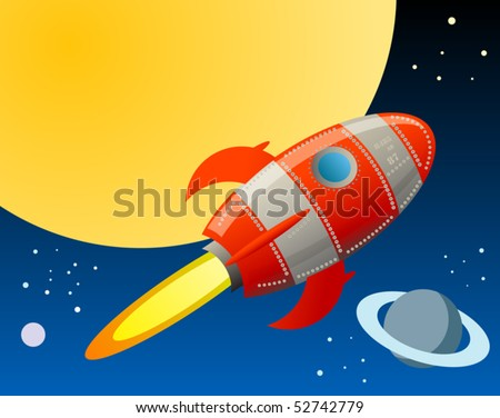 Rocket in space, vector illustration - stock vector