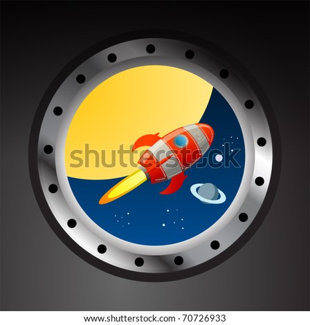 Rocket in space view from illuminator, vector illustration - stock vector