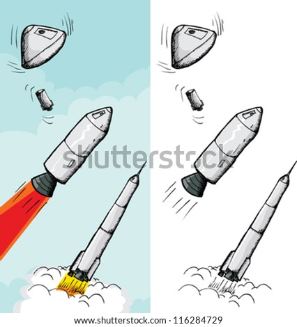 Rocket in various stages and different backgrounds - stock vector