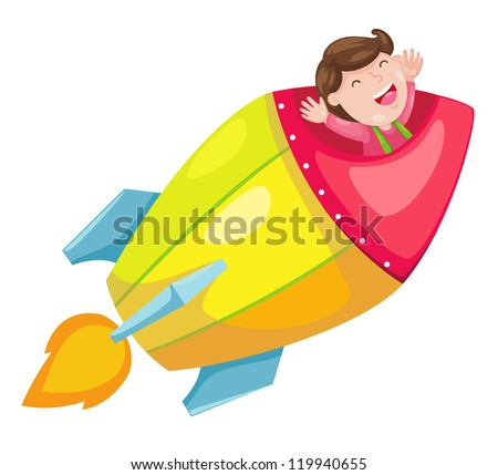 rocket isolated on white background vector - stock vector