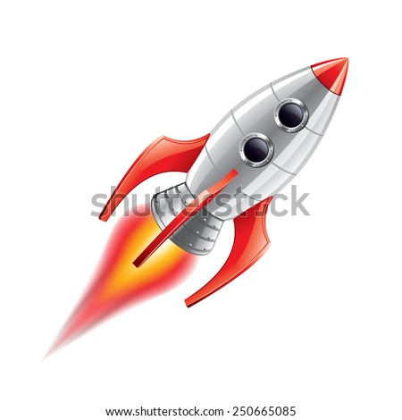 Rocket isolated on white photo-realistic vector illustration - stock vector