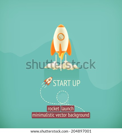 Rocket launch, minimalistic vector background - stock vector