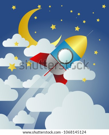 rocket launch to the sky, paper art background or poster