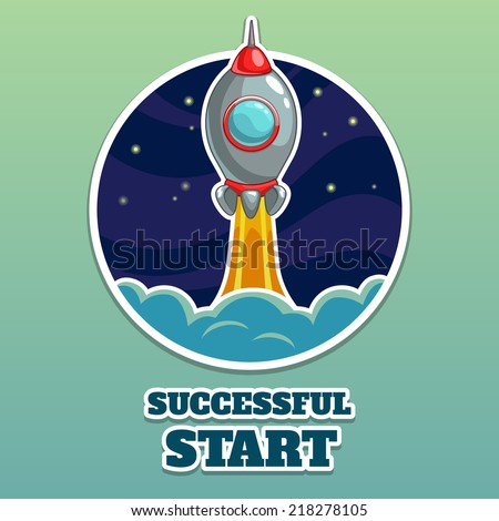 Rocket launch vector illustration, start up icon - stock vector