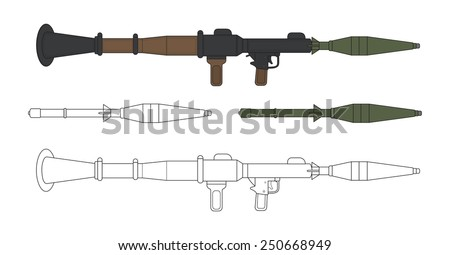 Rocket launcher with missiles. Game resources. Vector color and contour clip art illustration isolated on white  - stock vector
