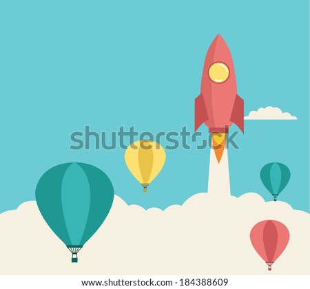 rocket launching over the hot air balloons. Business competition concept.  Vector - stock vector