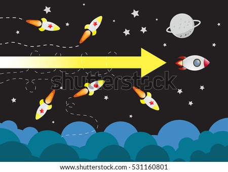 rocket launching win. Business competition concept. Vector